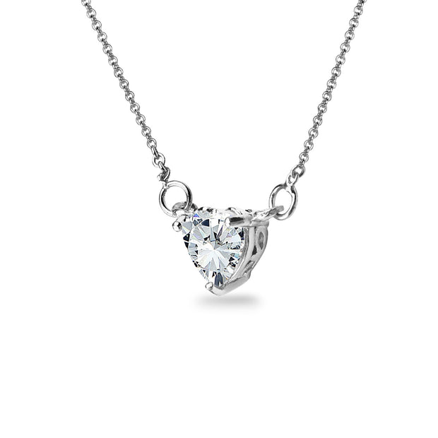 Sterling Silver 6mm Heart Choker Necklace Made with Swarovski Zirconia