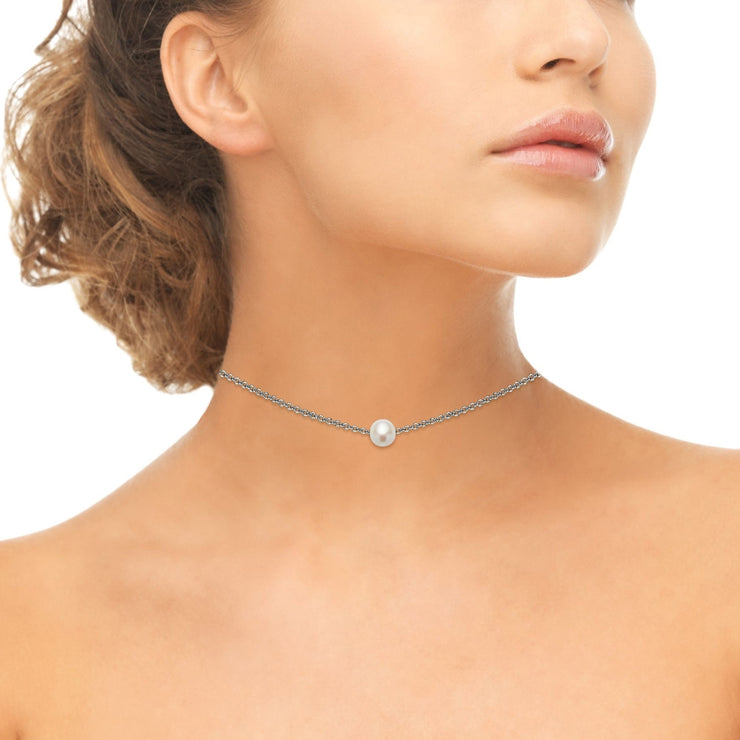 Sterling Silver Freshwater Cultured Pearl Semi-round Ball Dainty Choker Necklace