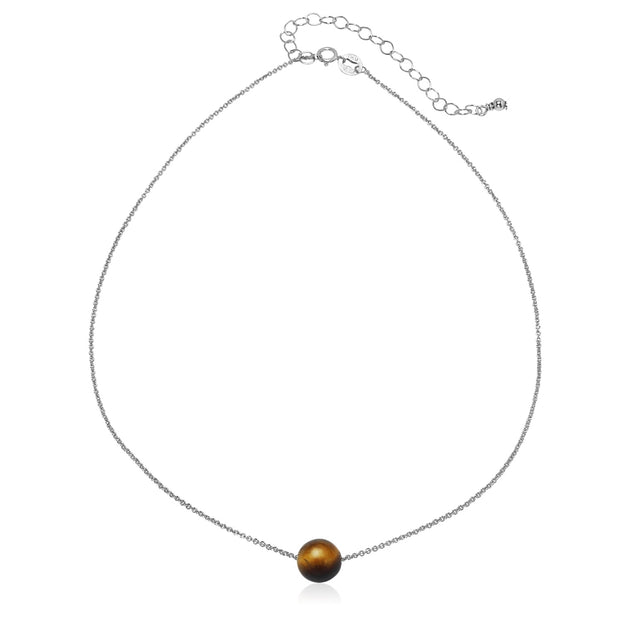 Sterling Silver Created Tiger Eye 8mm Bead Ball Dainty Choker Necklace