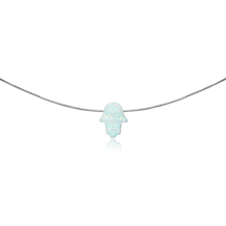 Sterling Silver Created White Opal Hamsa Hand of Fatima Dainty Choker Necklace
