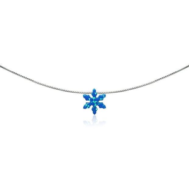 Sterling Silver Created Blue Opal Snowflake Dainty Choker Necklace