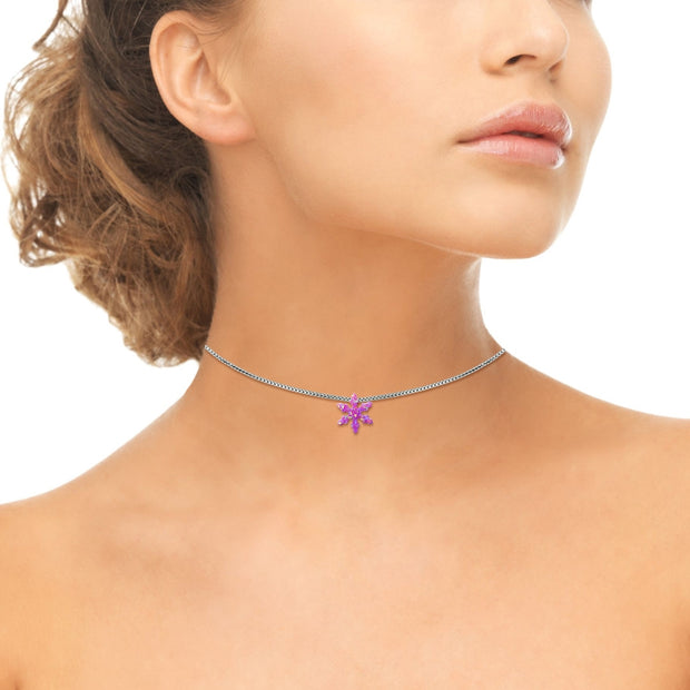 Sterling Silver Created Pink Opal Snowflake Dainty Choker Necklace
