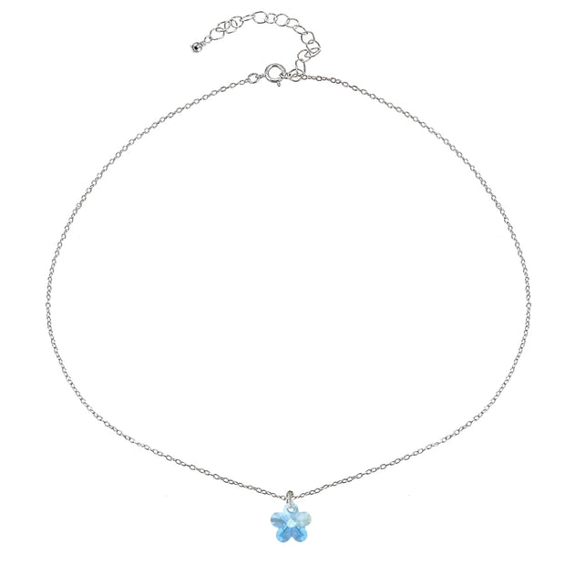 Sterling Silver Light Blue Flower Choker Necklace Made with Swarovski Crystals