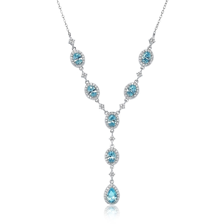 Sterling Silver Light Blue Cubic Zirconia Teardrop Halo Evening Statement Y-Necklace