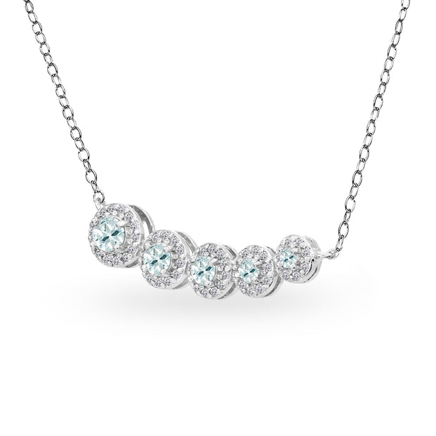 Sterling Silver Aquamarine Graduated Journey Necklace with White Topaz Accents