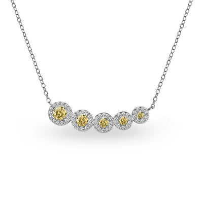 Sterling Silver Citrine Graduated Journey Necklace with White Topaz Accents