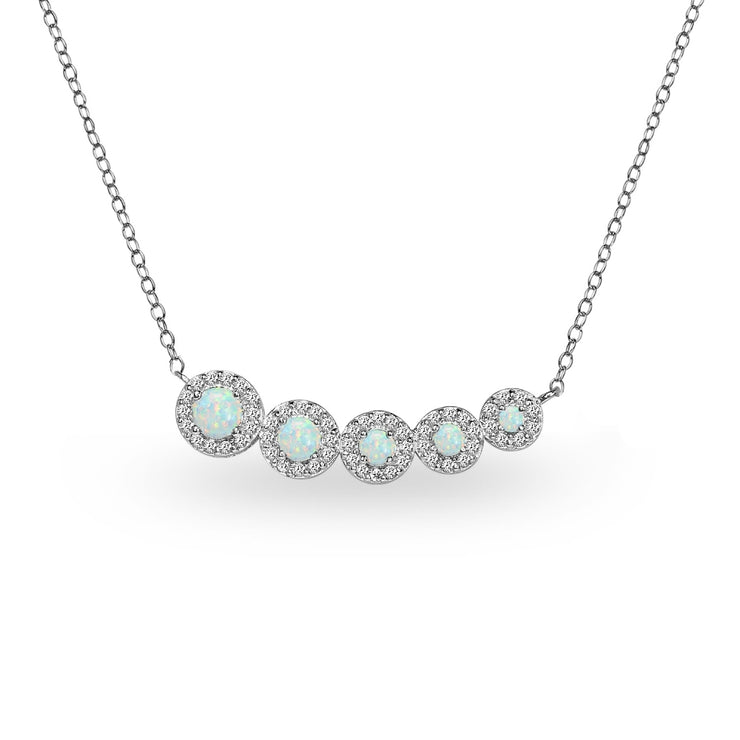 Sterling Silver Created Opal Graduated Journey Necklace with White Topaz Accents