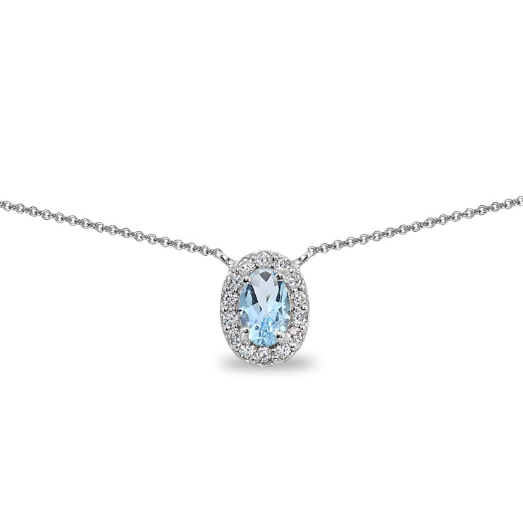 Sterling Silver Blue Topaz Oval Halo Choker Necklace with CZ Accents