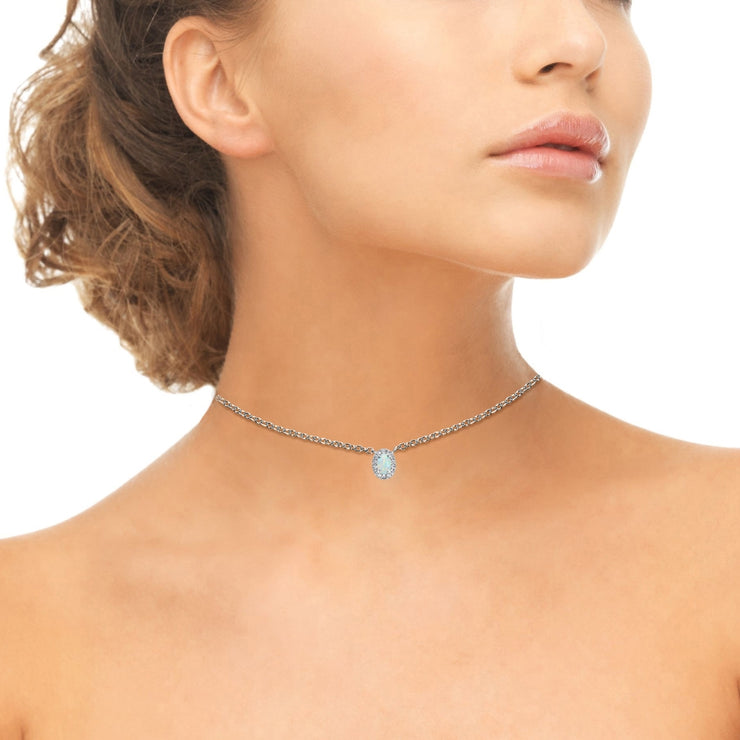 Sterling Silver Created White Opal Oval Halo Choker Necklace with CZ Accents