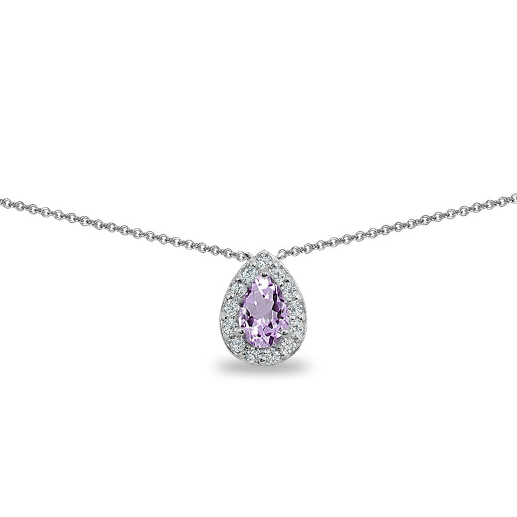 Sterling Silver Amethyst Teardrop Halo Choker Necklace with CZ Accents