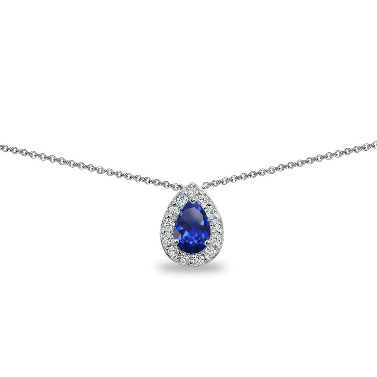 Sterling Silver Created Blue Sapphire Teardrop Halo Choker Necklace with CZ Accents