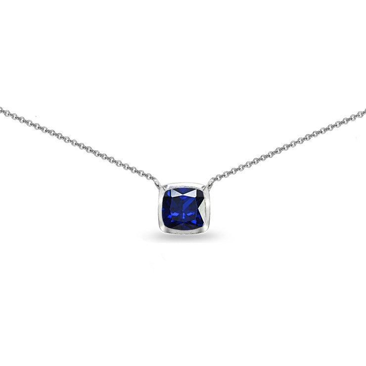 Sterling Silver Created Blue Sapphire Cushion-Cut Bezel-Set Solitaire Choker Necklace