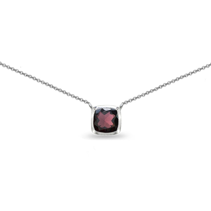 Sterling Silver Garnet Cushion-Cut Bezel-Set Solitaire Choker Necklace