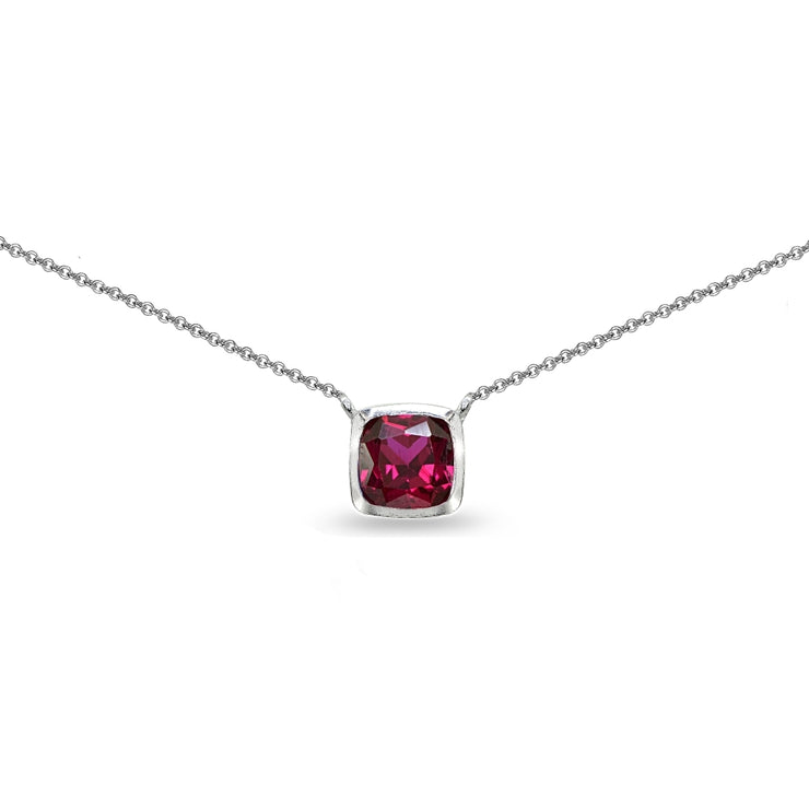Sterling Silver Created Ruby Cushion-Cut Bezel-Set Solitaire Choker Necklace