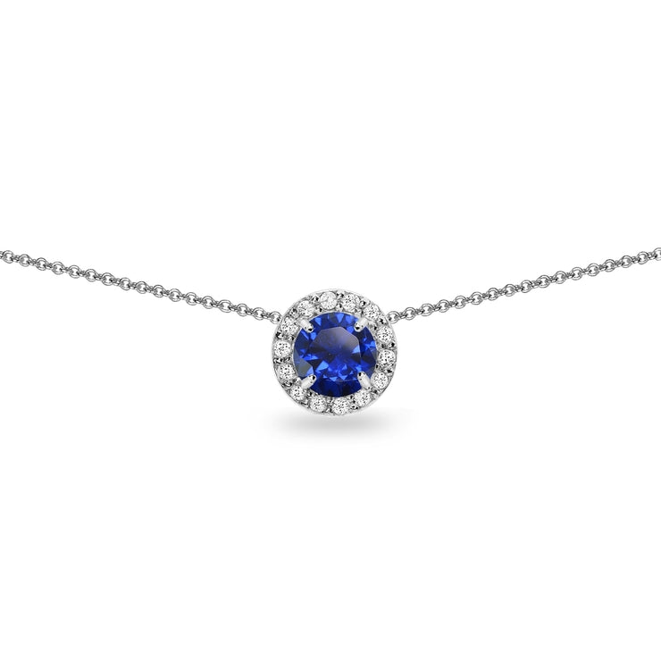 Sterling Silver Created Blue Sapphire & White Topaz Round Halo Slide Choker Necklace