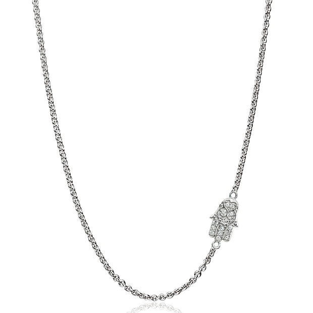 "Sterling Silver Cubic Zirconia Hamsa Hand Sideways Chain Necklace, 16"" + Extender"
