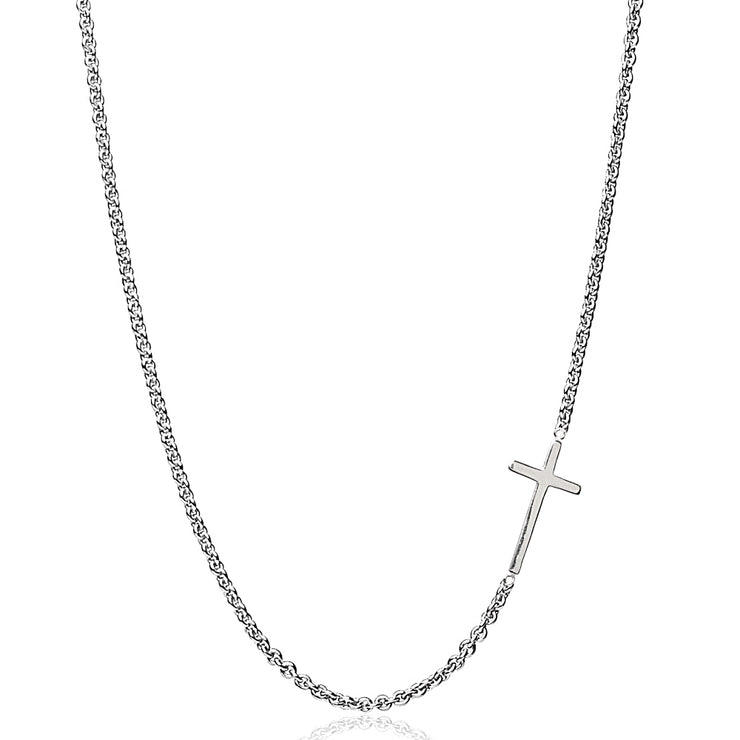"Sterling Silver Polished Cross Sideways Chain Necklace, 16"" + Extender"