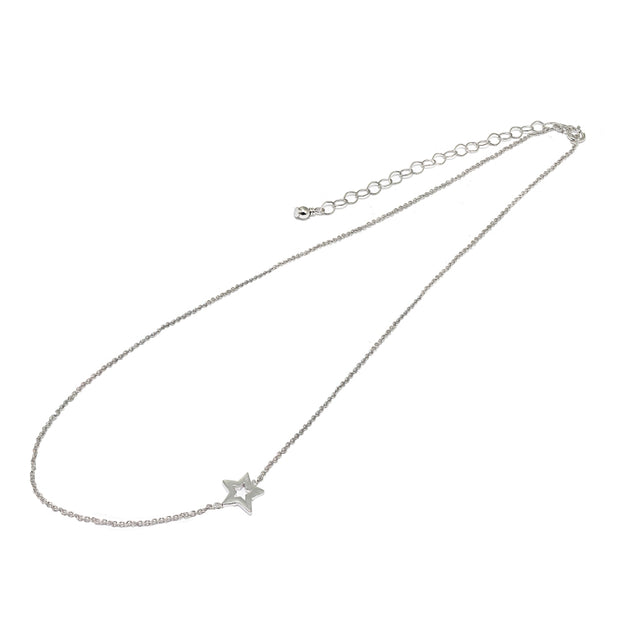 "Sterling Silver Polished Open Star Sideways Chain Necklace, 16"" + Extender"