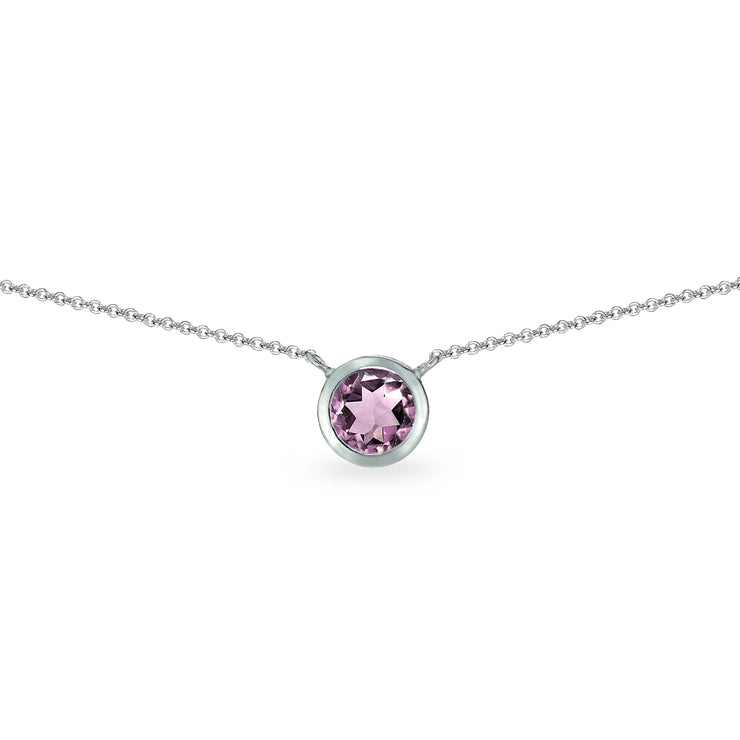 Sterling Silver Created Alexandrite 6mm Round Bezel-Set Dainty Choker Necklace