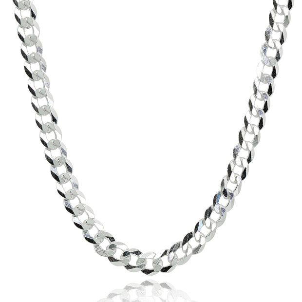 Sterling Silver Italian 4mm Diamond-Cut Cuban Curb Link Chain Necklace, 24 Inches