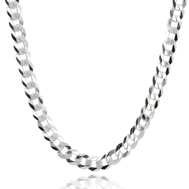 Sterling Silver Italian 5mm Diamond-Cut Cuban Curb Link Chain Necklace, 30 Inches