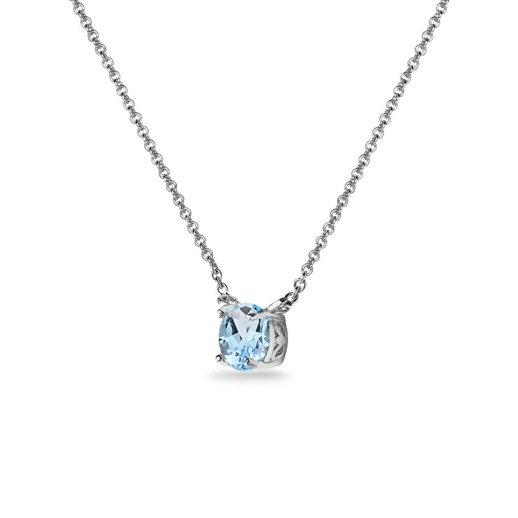 Sterling Silver Blue Topaz 7mm Round-cut Dainty Choker Necklace