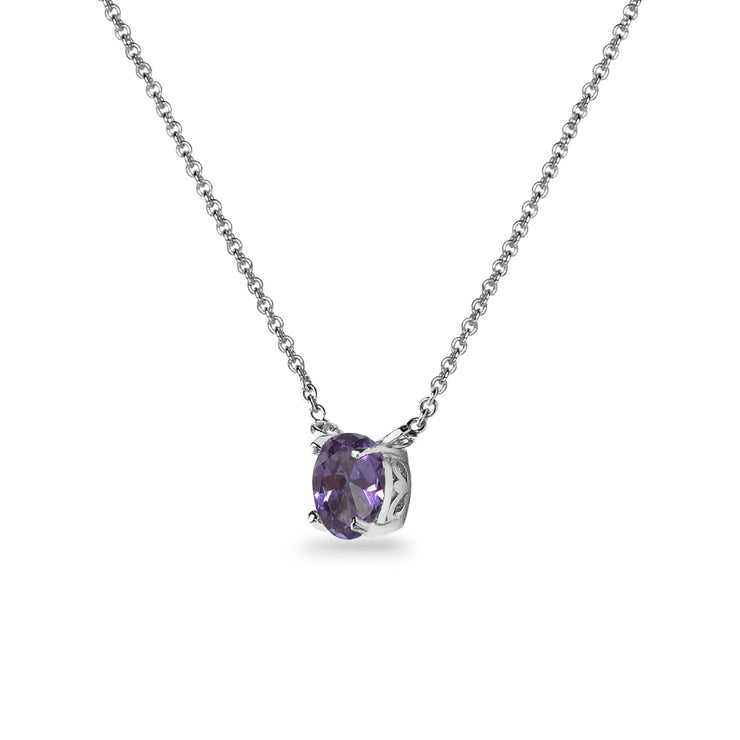 Sterling Silver Created Alexandrite 7x5mm Oval-cut Dainty Choker Necklace