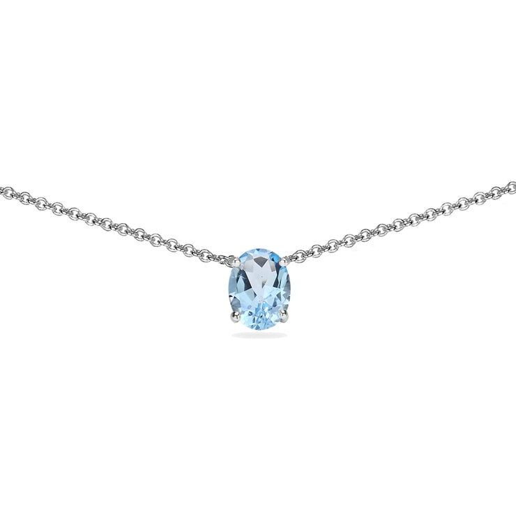 Sterling Silver Blue Topaz 7x5mm Oval-cut Dainty Choker Necklace