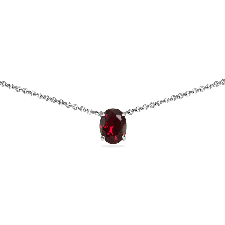Sterling Silver Created Ruby 7x5mm Oval-cut Dainty Choker Necklace