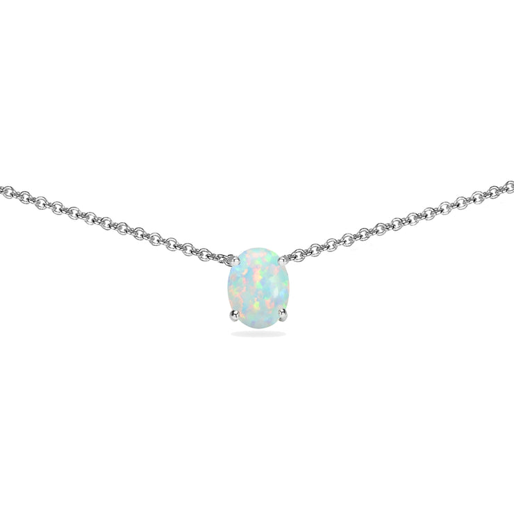 Sterling Silver Created White Opal 7x5mm Oval-cut Dainty Choker Necklace