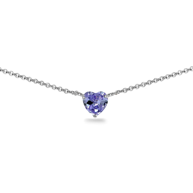 Sterling Silver Created Tanzanite 7x7mm Heart Shaped Dainty Choker Necklace