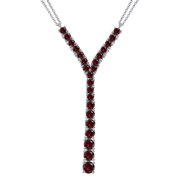 Sterling Silver Created Ruby Round Graduated Statement Lariat Y-Necklace
