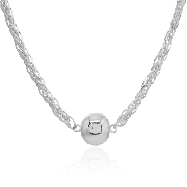 Sterling Silver Polished Round Ball Bead Wheat Spiga Chain Necklace, 17 Inch