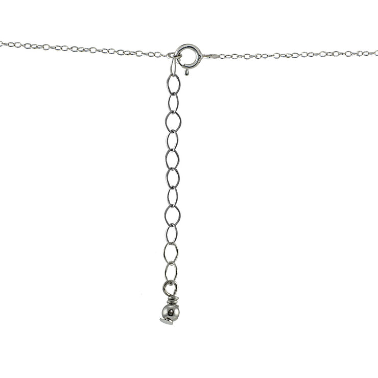 Sterling Silver Created Alexandrite & Cubic Zirconia Round Three Stone Dainty Bar Choker Necklace