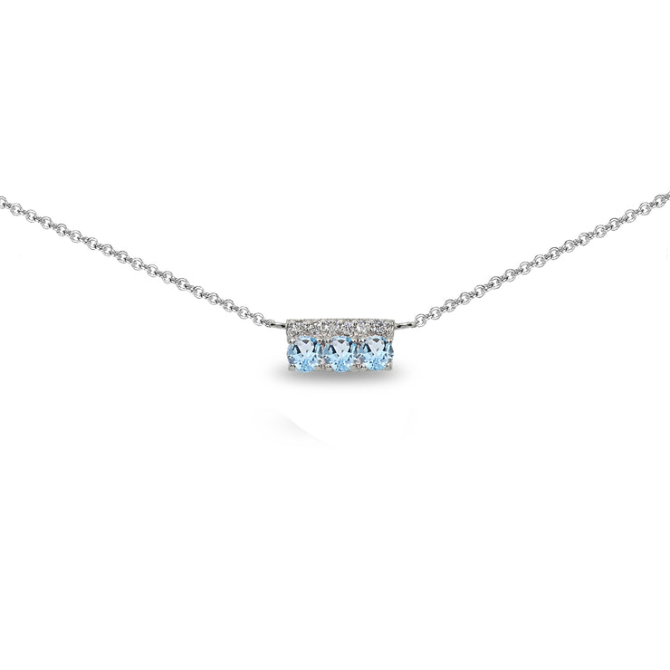 Sterling Silver Blue Topaz & Cubic Zirconia Round Three Stone Dainty Bar Choker Necklace