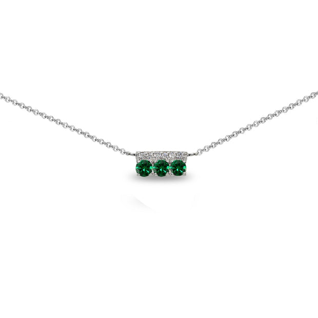 Sterling Silver Created Emerald & Cubic Zirconia Round Three Stone Dainty Bar Choker Necklace