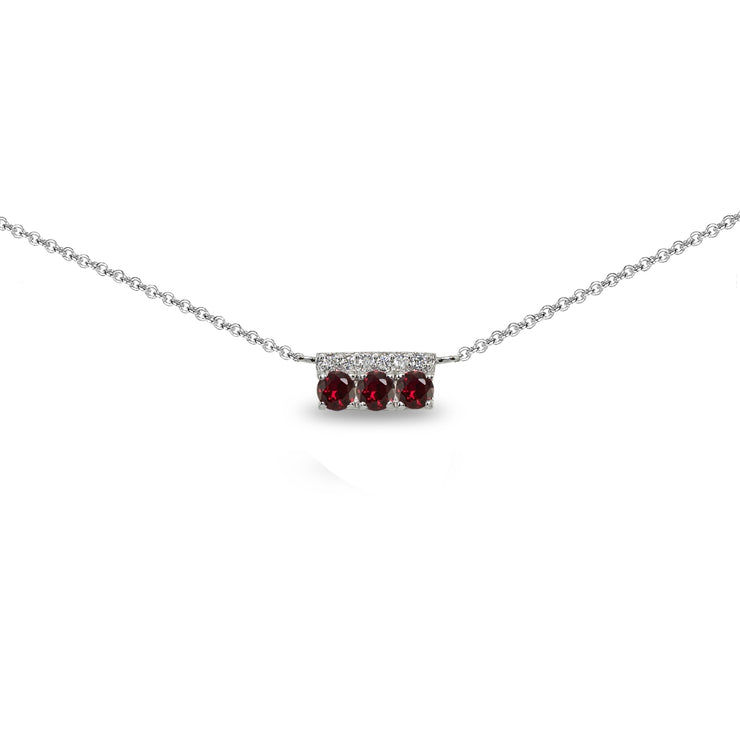 Sterling Silver Created Ruby & Cubic Zirconia Round Three Stone Dainty Bar Choker Necklace