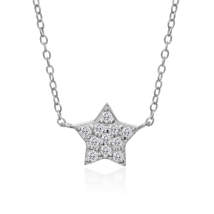 Sterling Silver Cubic Zirconia Polished Star Dainty Minimalist Necklace