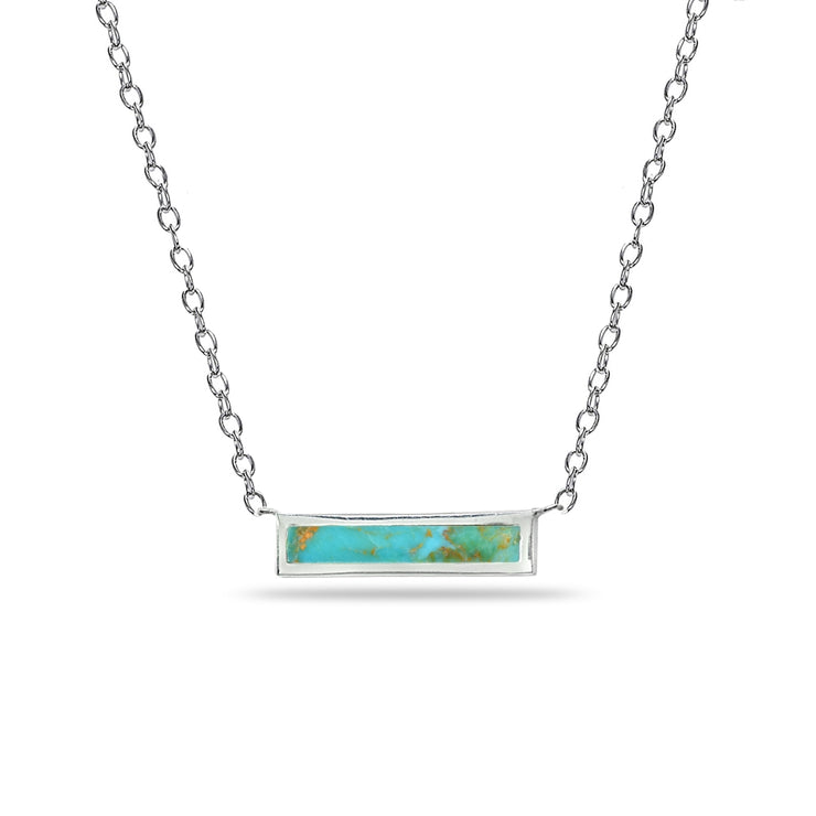 Sterling Silver Polished Created Turquoise Minimalist Dainty Thin Horizontal Bar Necklace