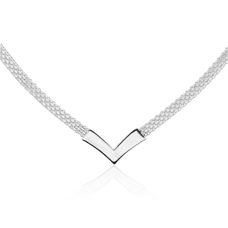 Sterling Silver Polished Chevron V Clavicle Mesh Chain Necklace