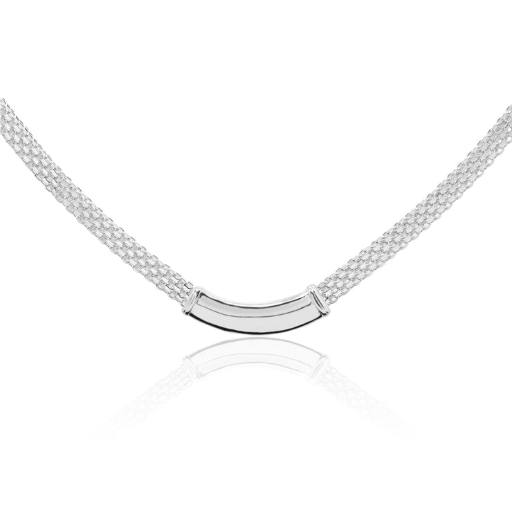 Sterling Silver Polished Curved Bar Tube Clavicle Mesh Chain Necklace