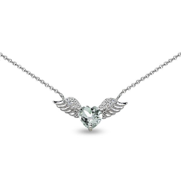 Sterling Silver Polished Light Aquamarine & CZ Heart Angel Wings Necklace, 15 Inch + Extender