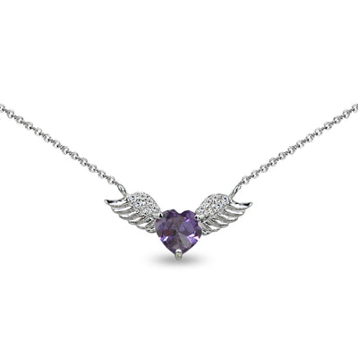 Sterling Silver Polished Simulated Alexandrite & CZ Heart Angel Wings Necklace, 15 Inch + Extender