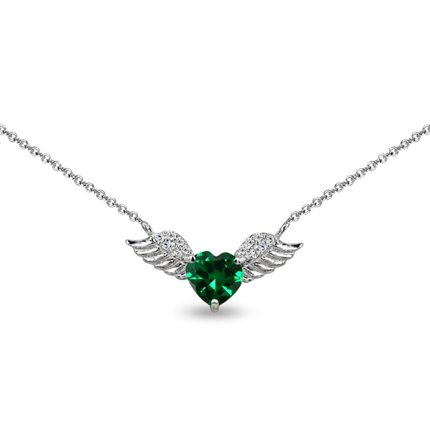 Sterling Silver Polished Created Emerald & CZ Heart Angel Wings Necklace, 15 Inch + Extender