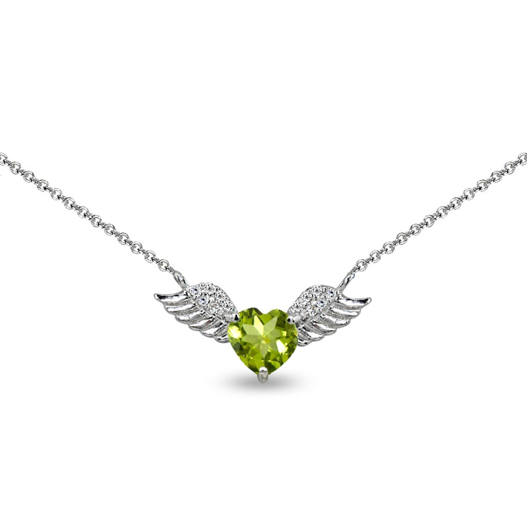 Sterling Silver Polished Peridot & CZ Heart Angel Wings Necklace, 15 Inch + Extender