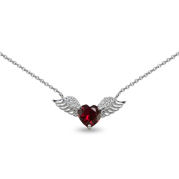 Sterling Silver Polished Created Ruby & CZ Heart Angel Wings Necklace, 15 Inch + Extender