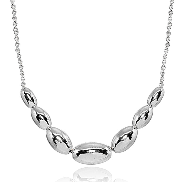 Sterling Silver Polished Journey Graduated Oval Bead Dainty Chain Necklace, 16 Inch + Ext
