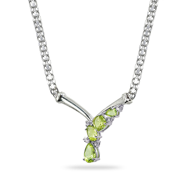 Sterling Silver Peridot & White Topaz Mesh Chain Statement Cocktail V Drop Necklace