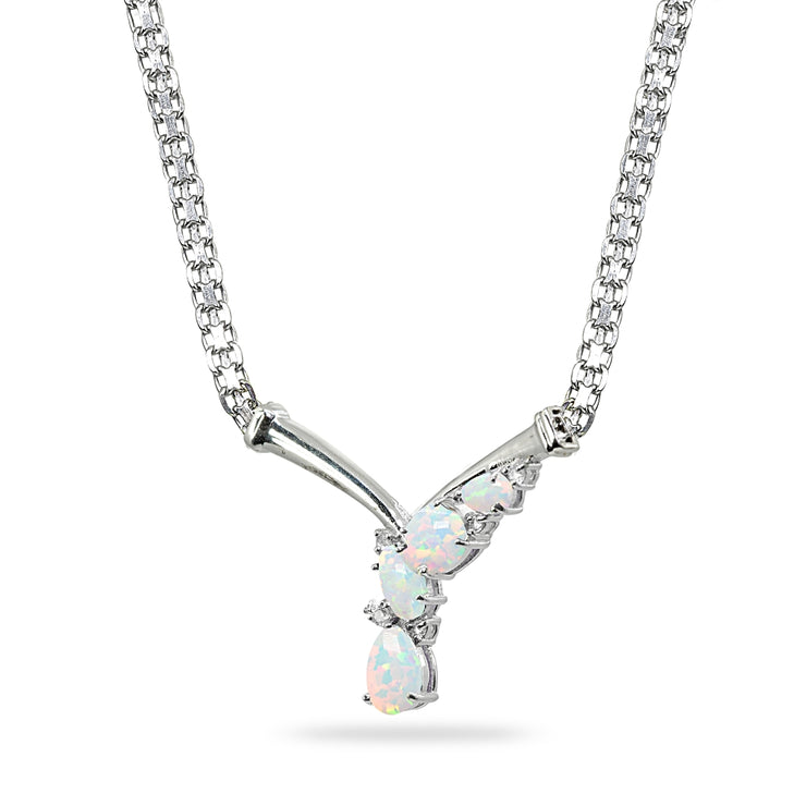 Sterling Silver Created White Opal & White Topaz Mesh Chain Statement Cocktail V Drop Necklace