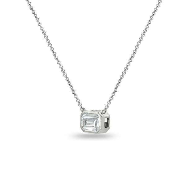 Sterling Silver 8x6mm Octagon-Cut Bezel-Set Solitaire Choker Necklace Made with Swarovski Zirconia